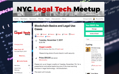 """Blockchain Basics and Legal Use Cases"" (11/7/17)"