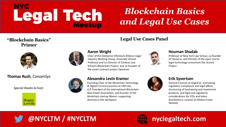 "Final Line-up:  ""Blockchain Basics and Legal Use Cases"" (11/7)"